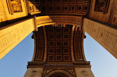 Detail on and under the Arc de Triomphe