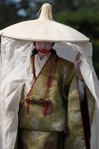 Geisha portraying Madame Fujiwara-Tameie in the 2010 Jidai Matsuri event in Kyoto, Japan.<br /> The parade includes historical outfits and characters from about 1200 years of Kyoto history.
