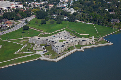 Aerial view of Castillo De San Marcos, National Monument in St Augustine, Florida