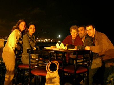 November 2003 Lima, Peru - Claudia, Susana, my mother, stepfather, and myself on Lima's cliff overlooking the Pacific Ocean. One of the few places in Lima I actually liked. This is actually the second picture of the same shot that I took of us, the first being with the flash. The light near us casted a kind of warm glow similar to that cast off of a fire and I thought using this light would make for a softer, tranquil mood. Using this dimmer, softer light also meant that the exposure time would be longer - 1 full second in this case instead of 1/125th of a second as in a standard flash exposure. So I had to instruct everyone to STAY STILL. I think it took me 3 tries to get the exposure right. Thanks for the patience, everyone. :-)  I'm quite pleased with the result.