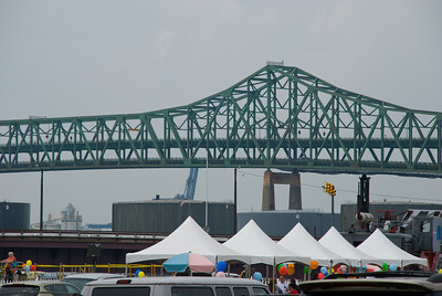 Entering the grounds of the Eastern Salt Co. there is a view of some tents for the party with the Tobin Bridge creating a terrific background.