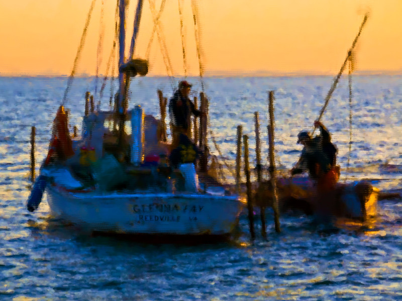 "Photopainting of pound net fishing on the Chesapeake Bay<br /> <br /> This image available for purchase in the ""Photopainting"" Gallery"
