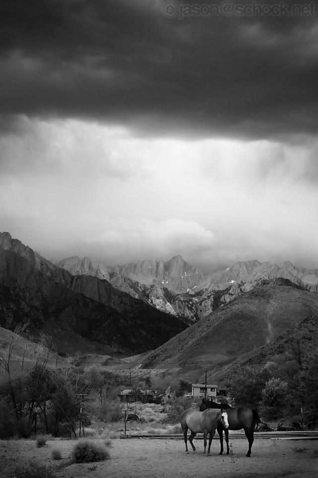Rain comes over Mt. Whitney, California