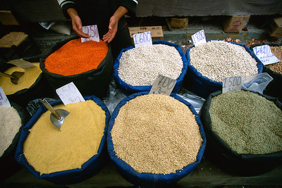 Grain bins at street market, Turkey