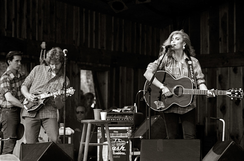 Emmylou Harris & Nash Ramblers. Sam Bush and Roy Huskey, Jr. This was the last time Roy played with the band. The flannel shirts the others wore were a tribute to him.