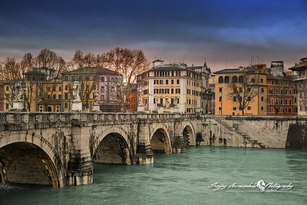 Porte Sant Angelo over the Tiber River, Rome, Italy