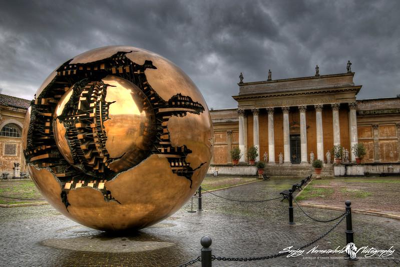 Vatican Museum's Sphere Within Sphere (Sfera con sfera) is a bronze sculpture by Italian sculptor Arnaldo Pomodoro, Vatican City, March 13, 2013