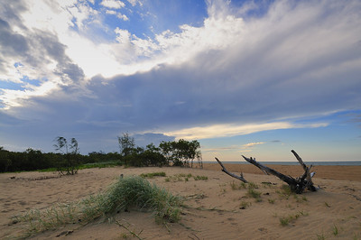 Summer storm brewing to the north, looking over the sand dunes at Moore Park.