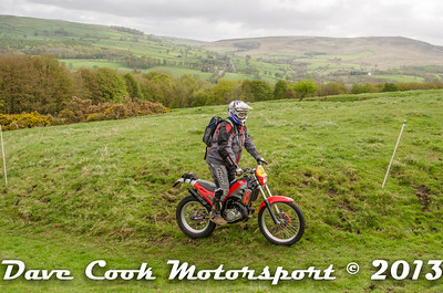 Gary Cowan's Gas Gas, at Hawpike on the 2013 Ilkley trial.  Sorry Gary but this one made it because of the scenery.
