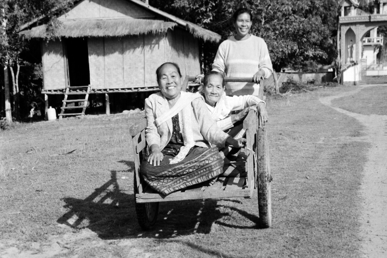laos -three ladies and a cart