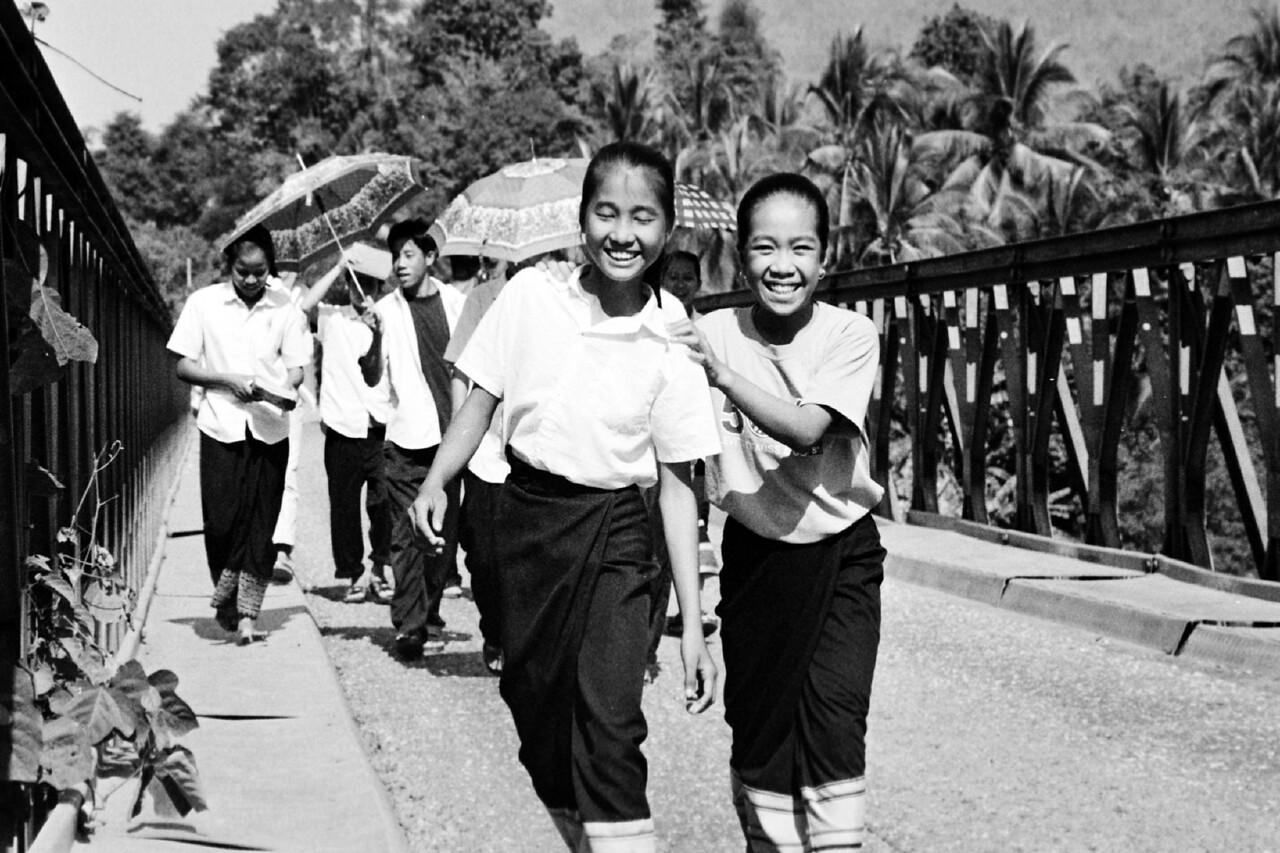 laos  -girls on bridge