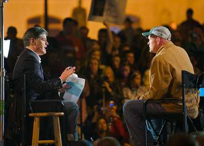 Sean Hannity and Joe the Plumber discuss issues at the 2009 tea party rally in Atlanta