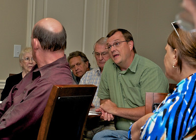 County Commission candidate Steve Brown discusses issues with voters
