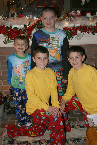 New jammies for all - Connor and Alex in back row and Chase and Wes in front row