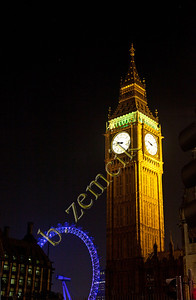 Parliament Clock tower, Big Ben is the clock (!) and the London Eye in background