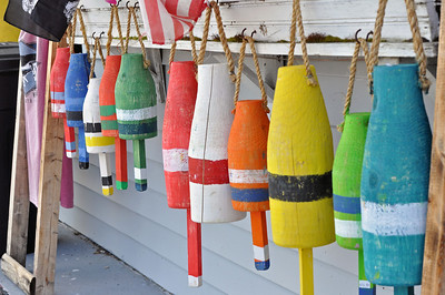Buoys at Plymouth Harbor in Plymouth, Massachusetts