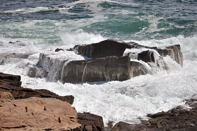 Wave action at Thunder Hole in Acadia National Park in Maine.