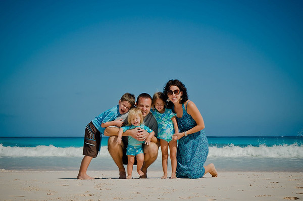Taken yesterday by my daughter, Alicia Fox, at Club Med beach, Eleuthera, Bahamas. Pictured with her husband Brad and their children, Tristan, Evelynn, and Kambria. They have lived in the Bahamas for over 7 years.<br /> <br /> Photographer's Name: Terry Lynn  Ayers<br /> Photographer's City and State: Anderson, IN