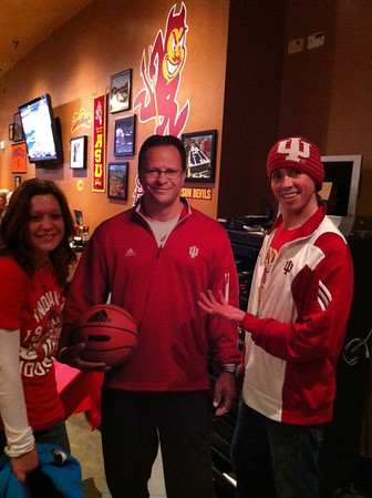 Emily Thompson and Colin Hill with Tom Crean watching IU vs Michigan in Denver Colorado <br /> <br /> Photographer's Name: Laura Hill<br /> Photographer's City and State: Anderson, IN