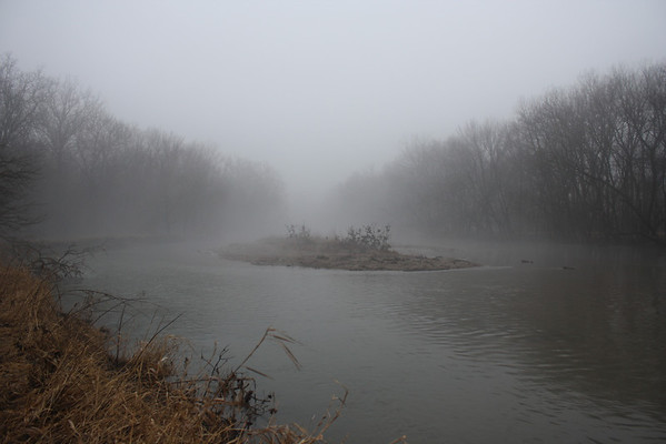 Fog frames a small island sitting in the middle of White River, January 28, 2013<br /> <br /> Photographer's Name: Rachel  Landers<br /> Photographer's City and State: Anderson, IN