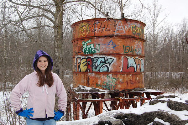 Natalie McFall on a winter walk at Rangeline Nature Preserve<br /> <br /> Photographer's Name: Mike McFall<br /> Photographer's City and State: Anderson, Ind.