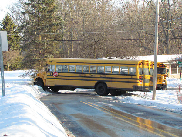 ACS Bus #402 after it had spun out on 60th St. and Ridgeview Road on Feb. 19.<br /> <br /> Photographer's Name: Brian Fox<br /> Photographer's City and State: Anderson, Ind.
