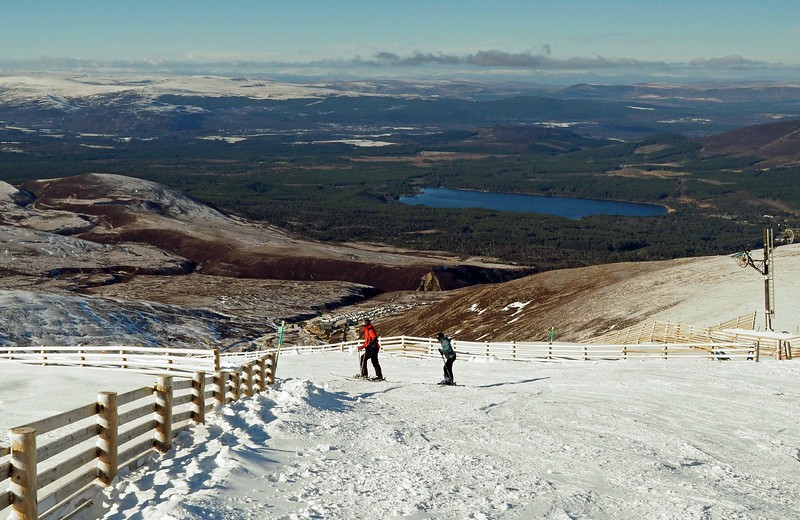 Skiers above Loch Morlich on Monday 27th February 2017