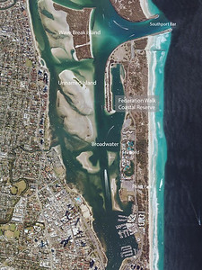 Map of Federation Walk, The Spit and Broadwater, including Unnamed Island (Curlew Island) and Wave Break Island. Source: Edited Google Maps.