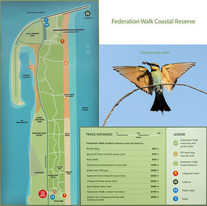 Federation Walk Coastal Reserve tracks. Composite image with information from the entrance sign.
