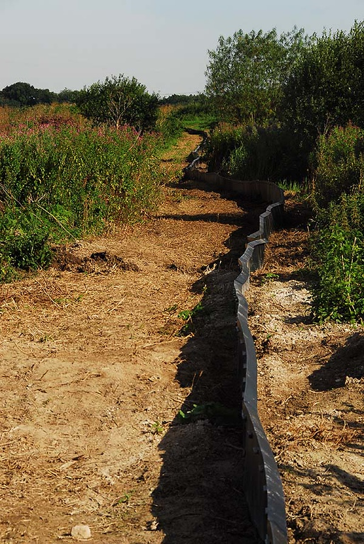 Area where three land drains were constructed to allow water to move across site