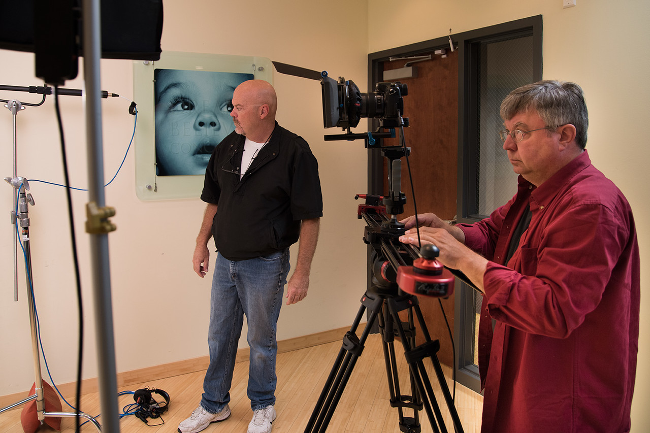"Dave Topping (L) and Director of Photography Bill Thomas (R) making final checks before ""action"" is called."