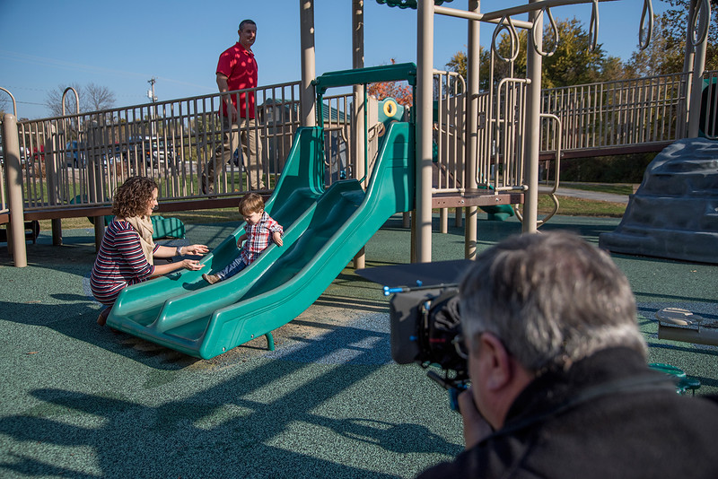 miano.tv of St. Louis shooting a commercial on location in St. Peters, Missouri for the Fertility Partnership.