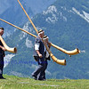 NENDAZ, SWITZERLAND – JULY 21: the trio l'echo des Vanils 1 team at the 10th International Festival of Alpine horns :  July 21, 2011 in Nendaz Switzerland