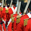 napoleonic soldiers in red jackets on parade