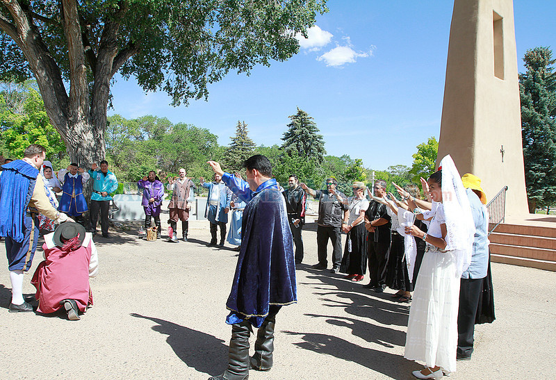 Return Procession of Our Lady of Peace La Conquistadora to the Cathedral Baslica of St. Francis of Assisi on Sunday june 24, 2012.<br /> <br /> Photos by jane Phillips/the New Mexican
