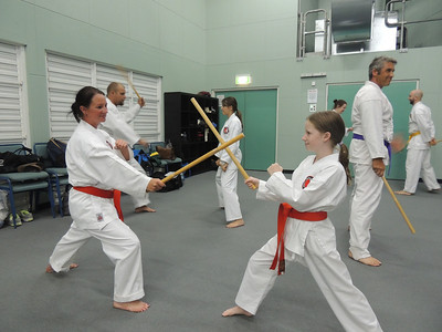 Combat Karate students Nicole (Left) & sister Jessica Burnie on GM Angelo's Seminar February 2014