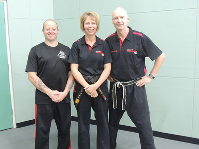Grandmaster Angelo 8th Dan Founder Filipino Kyusho with Shihan Martin Day & Sensei Patricia Fast 5th Dan Combat Karate
