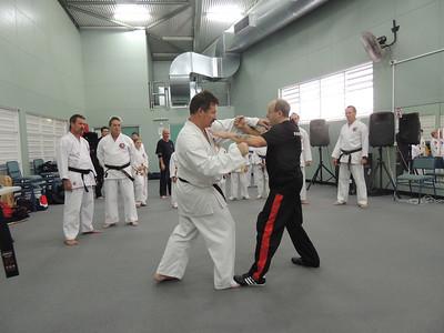 Grandmaster Angelo 8th Dan Founder Filipino Kyusho taking posture with Andy 1st Dan Combat Karate
