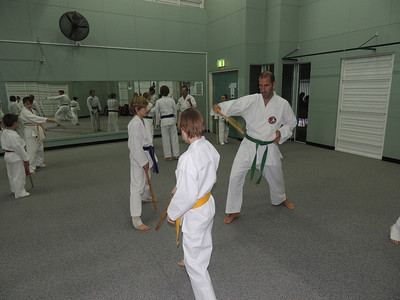 Andrew Bowen assisting on GM Angelo's Seminar, Combat Karate Noosa