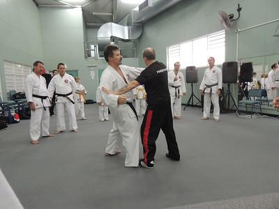 Grandmaster Angelo 8th Dan Founder Filipino Kyusho taking posture with Andy 1st Dan Combat Karate Noosa