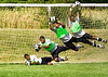At a pre-season tournament in Cincinnati, Ohio on August 12, 2008, freshman keeper Ryan Galloway demonstrates the skill and athleticism he brings to the CCDS 2008 starting lineup. Photos and composite by Lynne Skilken.