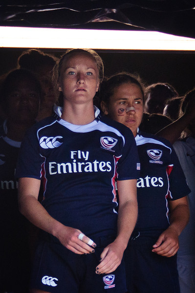 USA Rugby Women's National Team captain Kathryn Johnson (U of Wisconsin - Milwaukee) pauses inside the UCSB tunnel as she prepares to lead her team onto the field for the U-20 Nations Cup championhip match against undefeated England. England defeated the USA team 48-11 at UCSB in Santa Barbara, California on July 23, 2011. Photo by Lynne Skilken.