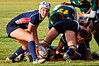 USA Rugby U20 Women's National Team scrumhalf Haley Anderson (Summit, CO) takes the ball from Jennifer Sandifer (Navy) on the first day of the Nations Cup in Santa Barbara, CA. USA defeated South Africa 27-3 in the Nations Cup opener on July 14, 2011.  Photo by Lynne Skilken.