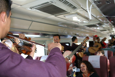 "the mariachis on the ""tequila express.""  it's a train from guadalajara to the herradura factory in tequila, jalisco (where most tequila is made)"