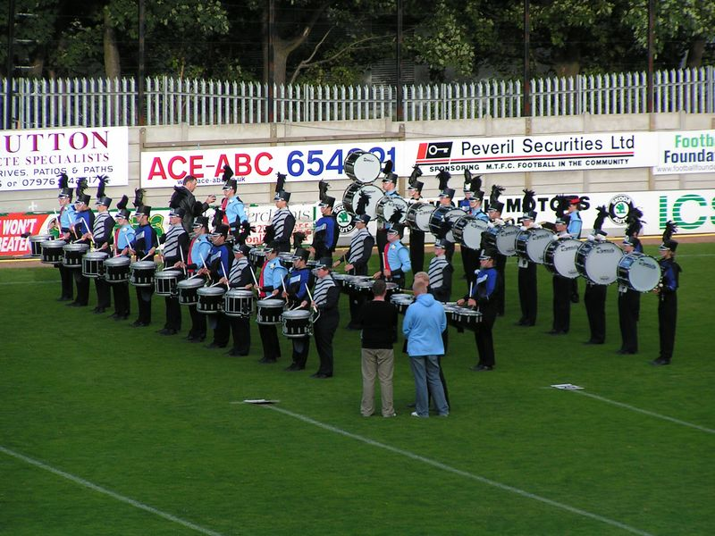 Massed drumlines of Concord, Stafford Lancers and Southern Aurora at the British Drum Corps Championships 2005