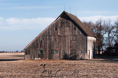 Winter Drab Nebraska Barn