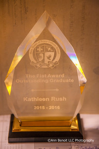 Kate Rush's Fiat Award for the Outstanding Graduate from Mary Queen of Peace in Mandeville is displayed at her parent's home in Covington.