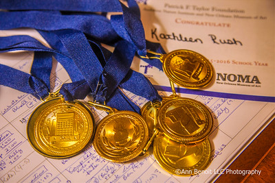Kate Rush's academic medals and awards at her family's home in Covington.