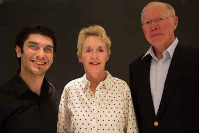 L to R Guest conductor Aram Demirjian, Margaret Soltis of Metairie and LPO Trustee Bruce Soltis of Metairie at Beethoven and Blue Jeans at the Jefferson Performing Arts Center in Metairie. Ann Benoit Photo
