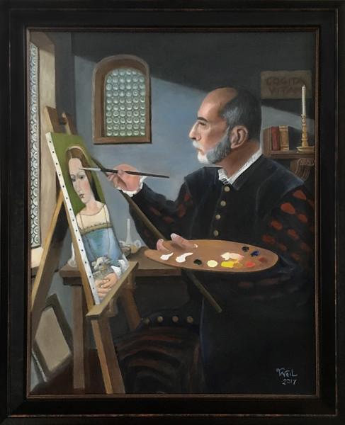The artist, framed